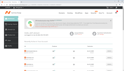 Namecheap.com Domain Manage