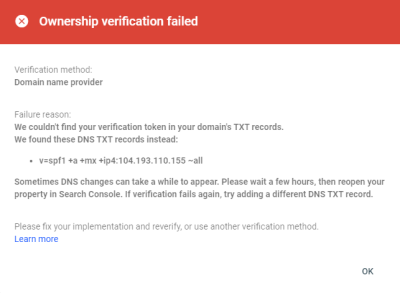 Figure 1.0 Ownership Verification Failed