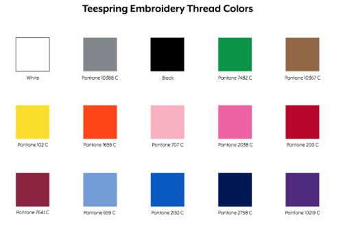 Teespring Embroidery Thread Colors