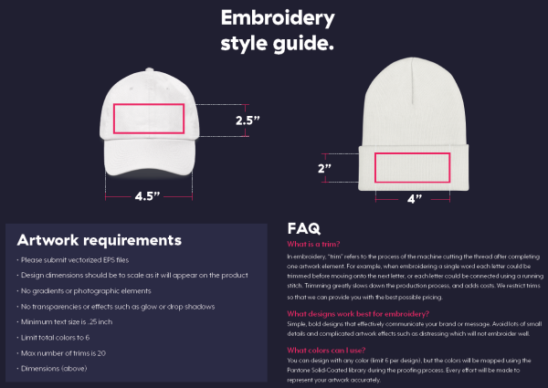 Teespring Embroidery Style Guide