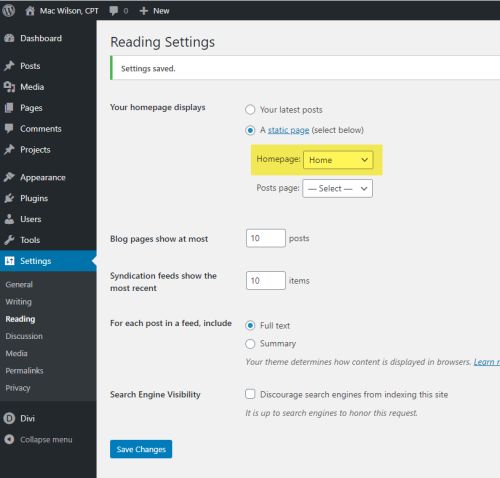 WordPress - Settings - Reading - Home