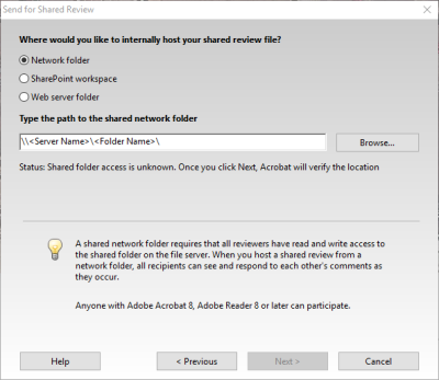 Send for Shared Review - Network folder