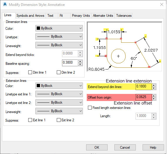 Figure 1-0 AutoCAD Dimension Style - Extension Lines
