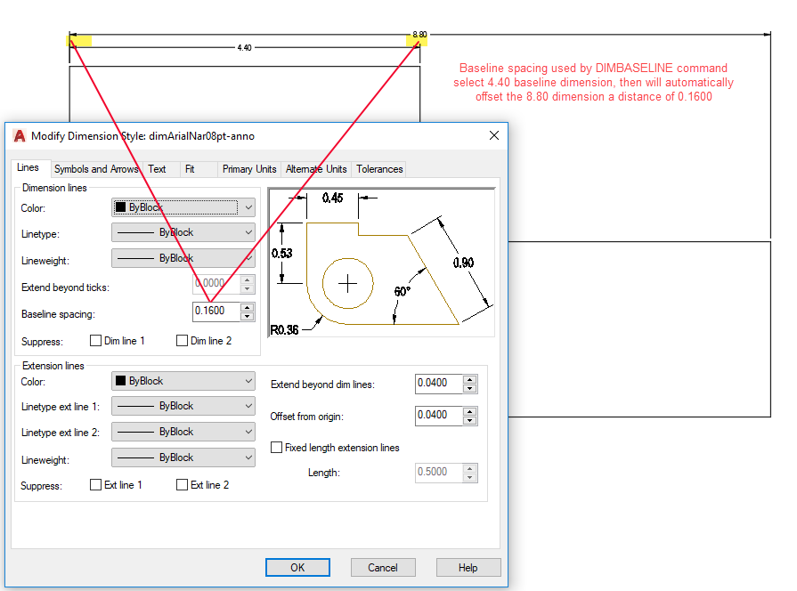 Figure 1-0 AutoCAD Dimension Style - Baseline Spacing
