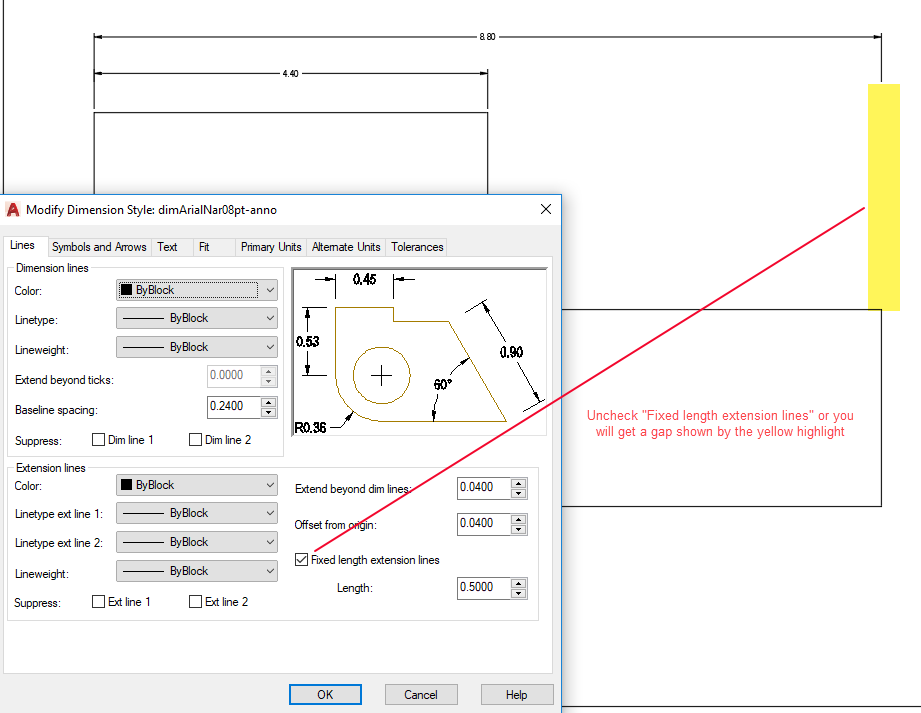 Figure 1-0 AutoCAD Dimension Style - Fixed Length Extension Lines