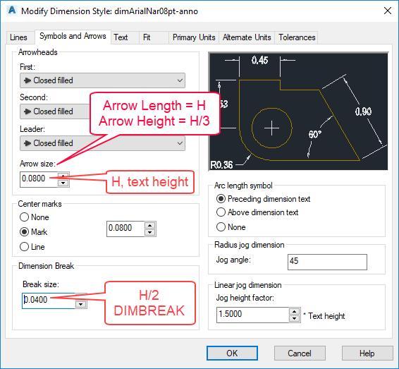 Figure 1-0 AutoCAD Dimension Style - Arrowhead Size and Dimension Break