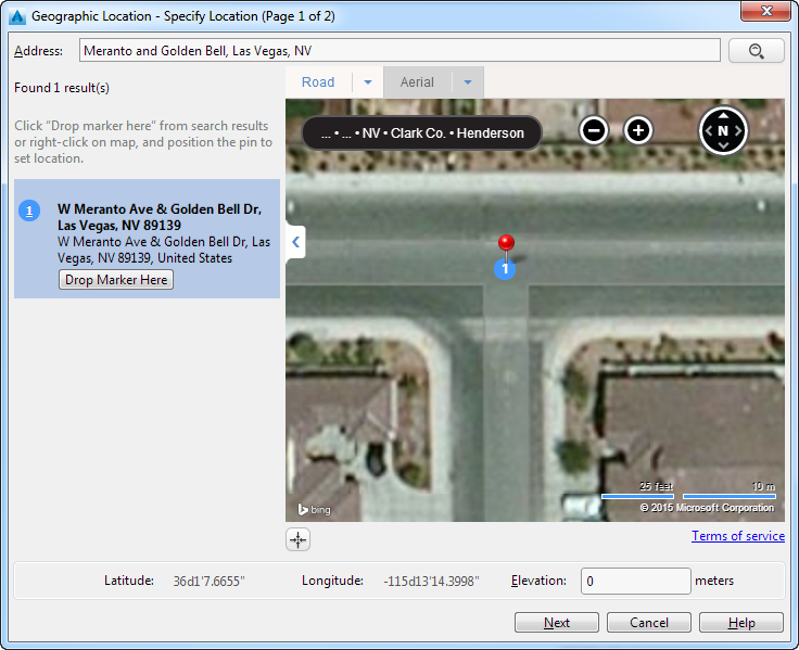 Civil 3D Bing Maps at intersection of Meranto and Golden Bell
