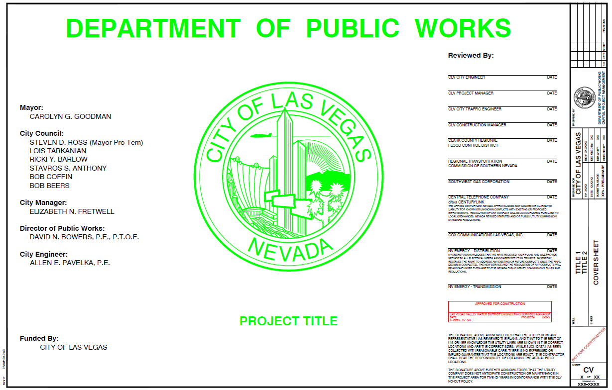 Figure 1-0 Cover Sheet - Nevada - City of Las Vegas Public Works