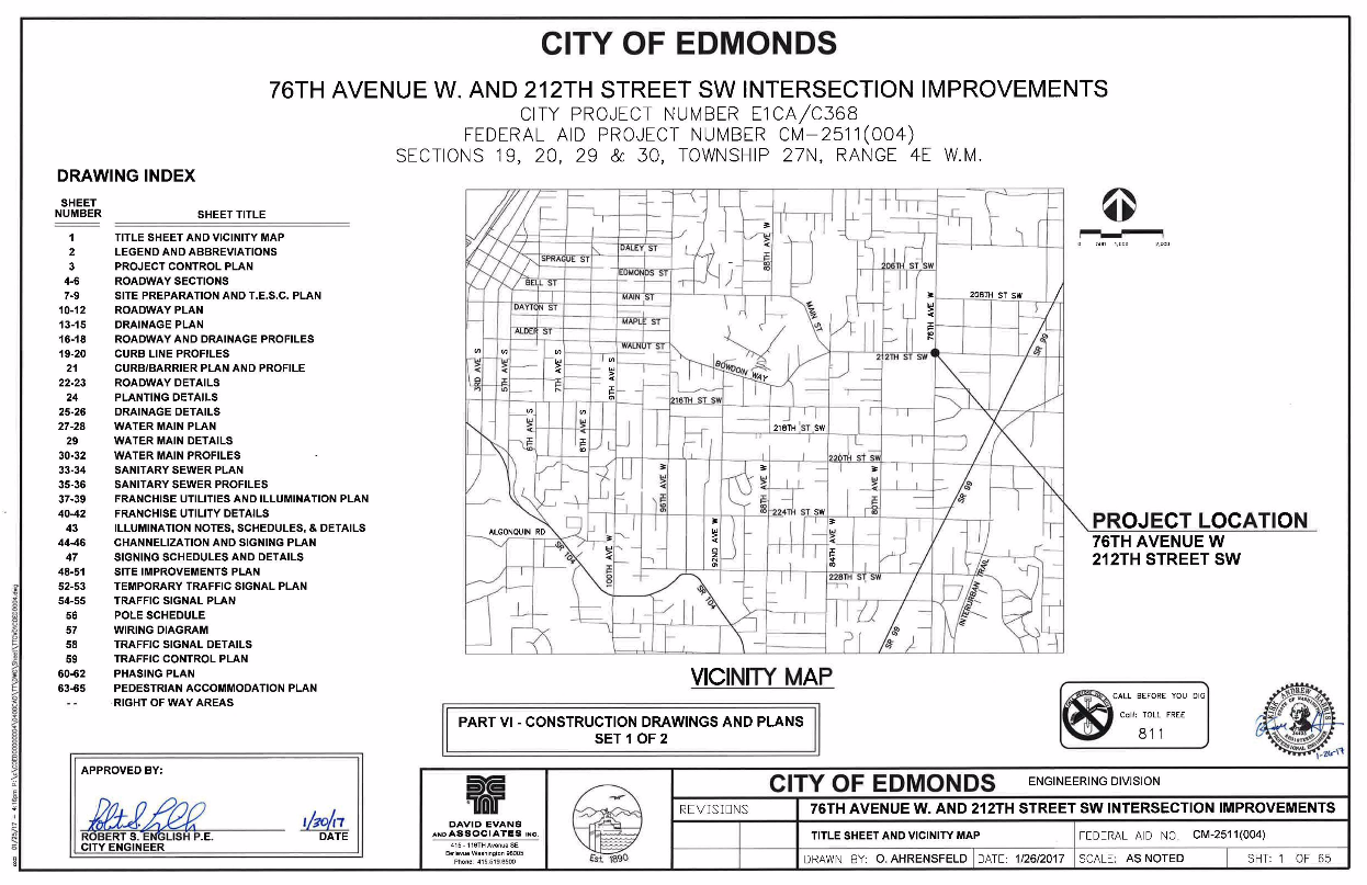 Figure 1-0 Cover Sheet - Washington - City of Edmonds