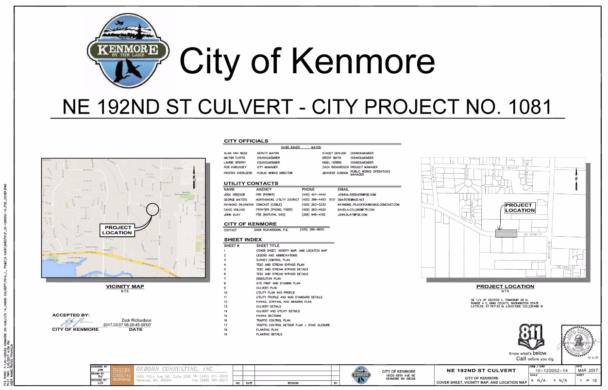 Figure 1-0 Cover Sheet - Washington - City of Kenmore