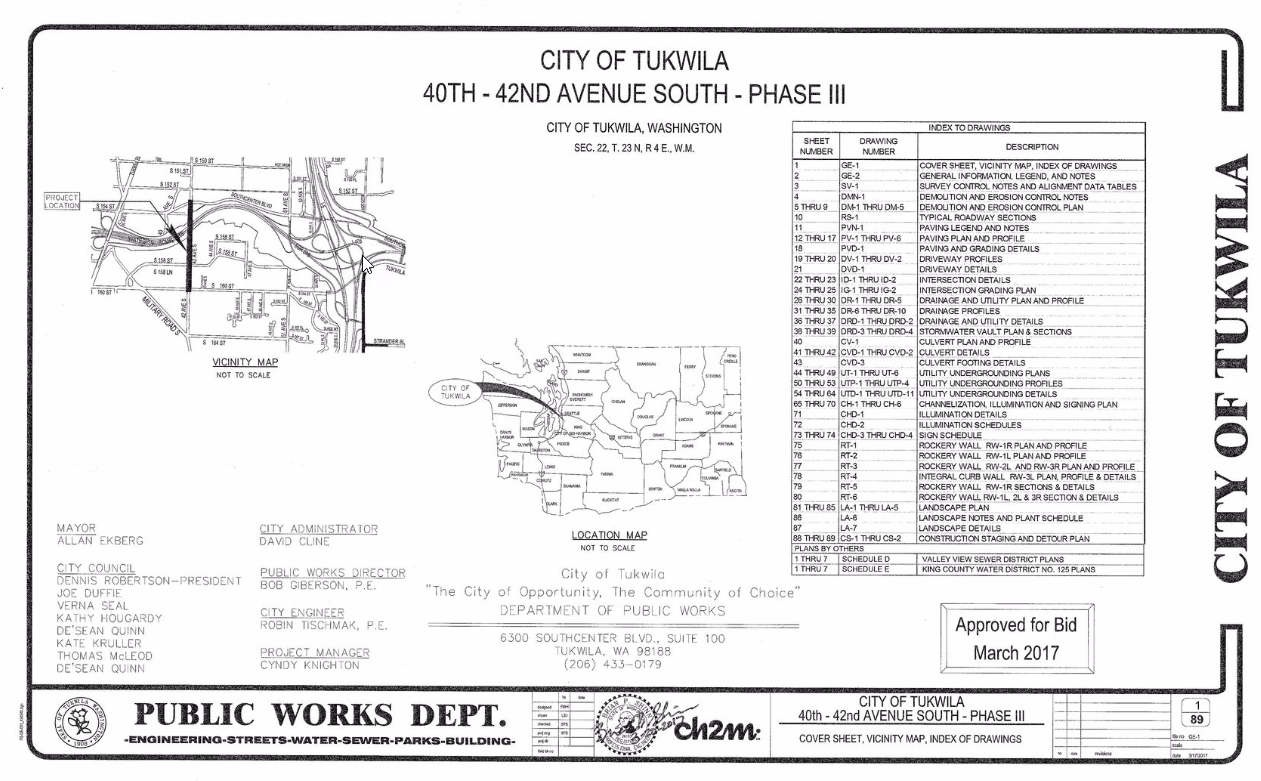 Figure 1-0 Cover Sheet - Washington - City of Tukwila