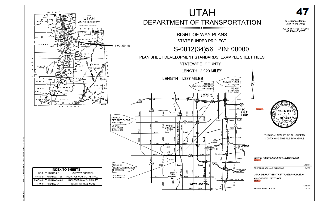 Figure 1-0 UDOT Cover Sheet