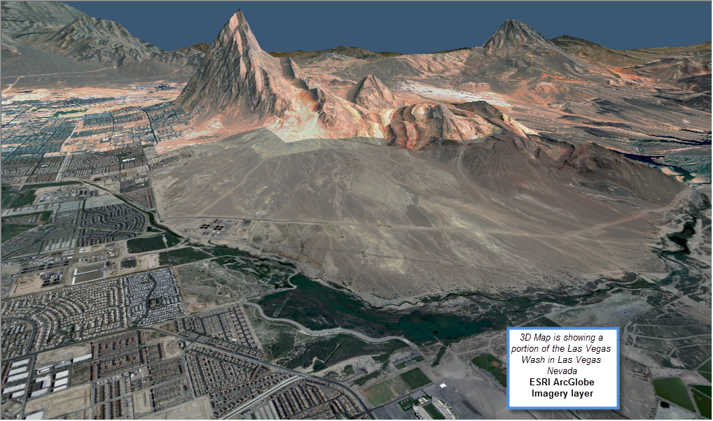Figure 10-23 ESRI ArcGlobe showing the Las Vegas Wash