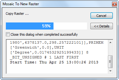 Figure 10-10 ArcMap Data Management Mosaic To New Raster Progress screenshot