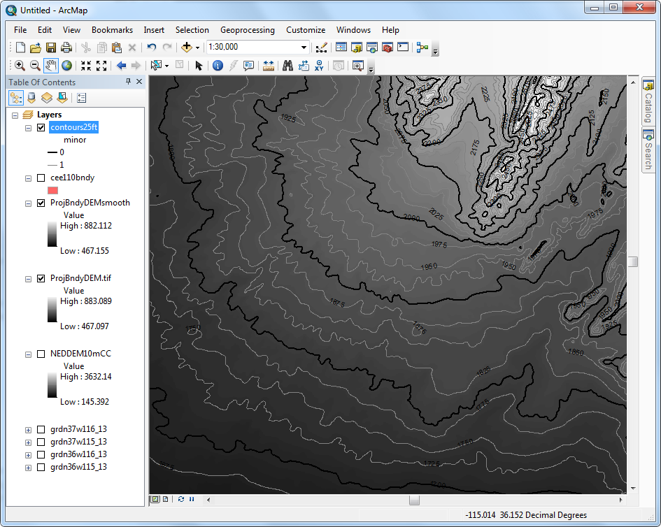 Figure 10-20 ArcMap Contour Lines and Labels