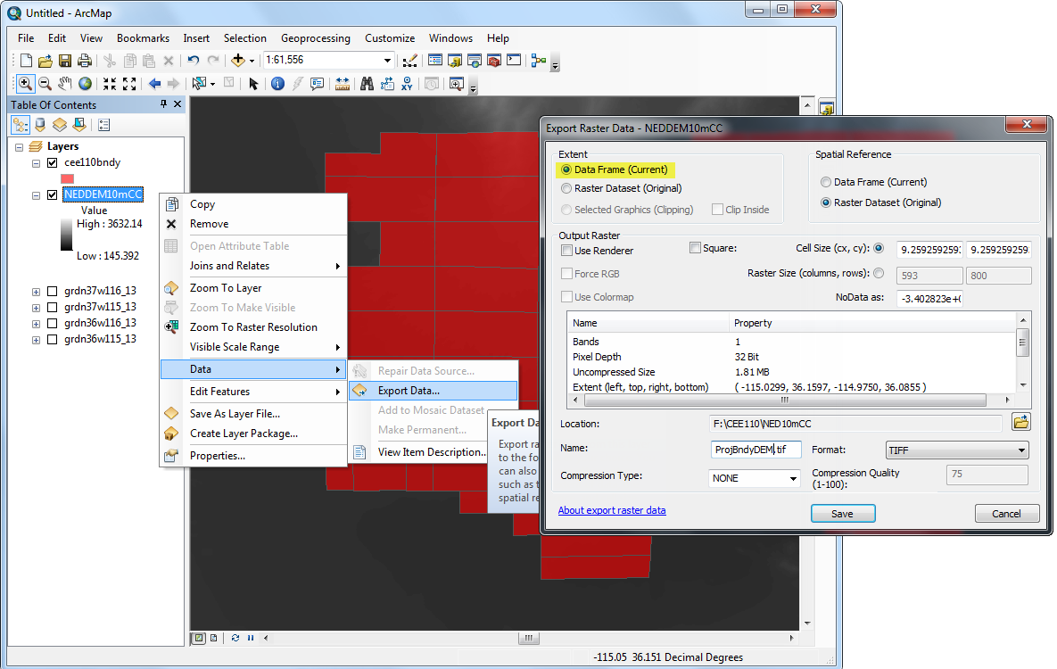 Figure 10-13 ArcMap screenshot export DEMs based on current map extent