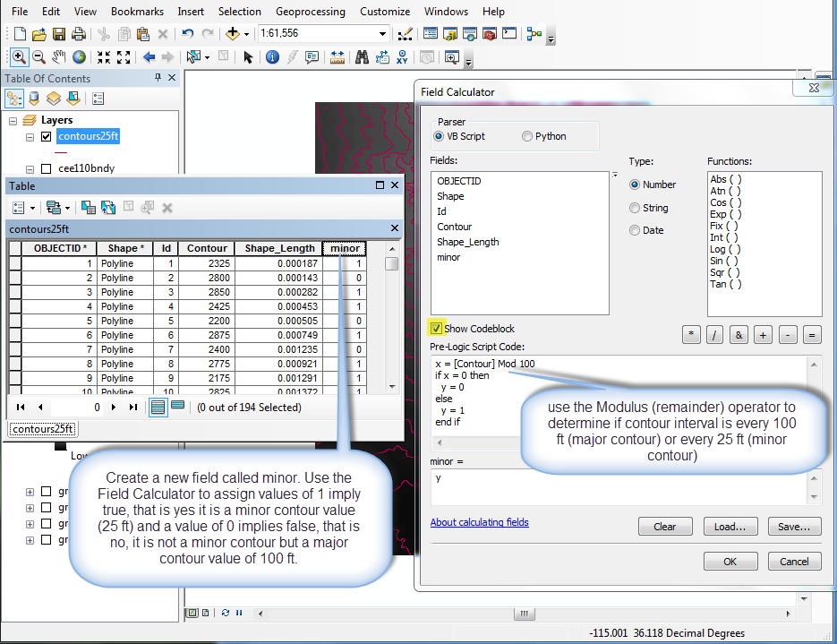 Figure 10-17 ArcMap Attribute Table - Field Calculator