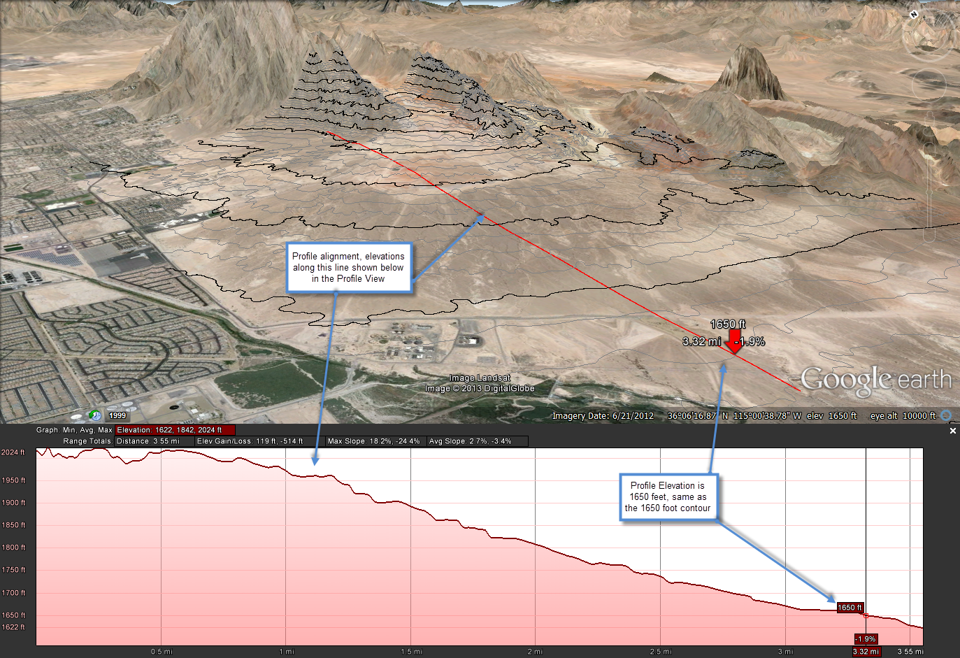 Figure 10-24 Profile View in Google Earth Pro