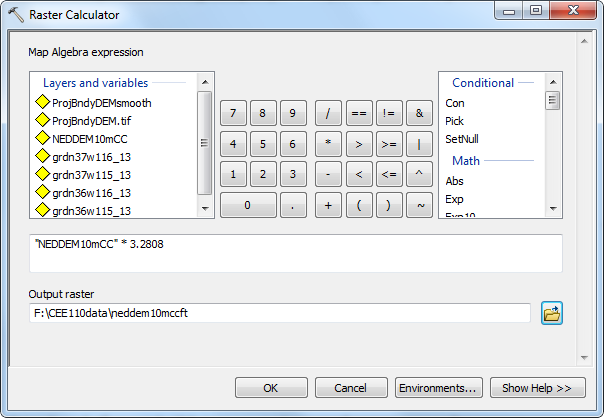 Figure 10-15 ArcMap Spatial Analyst Map Algebra Raster Calculator