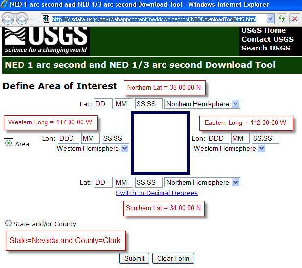 Figure 10-1 Accessing the USGS Site Containing Base Map Data. The USGS NED Download Tool