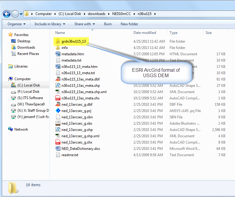 Figure 10-3 Windows Explorer view of DEMs. The presence of the file grdn36w115_3 is shown