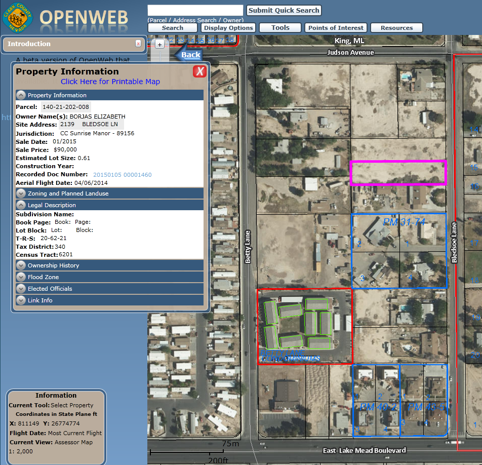 Clark County GIS - OpenWeb Application - Streets Surrounding Site