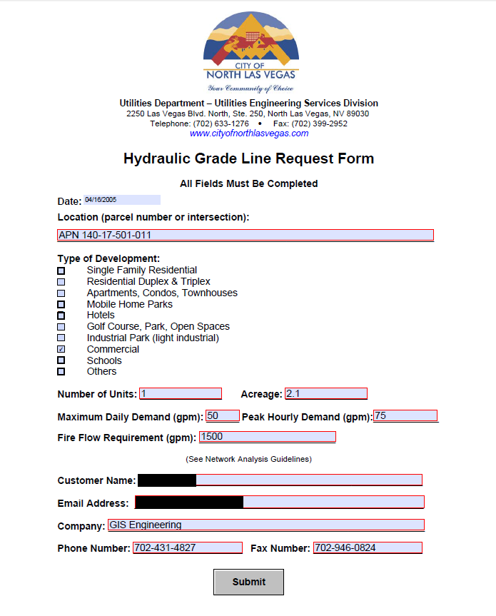 North Las Vegas Hydraulic Grade Line Request Form