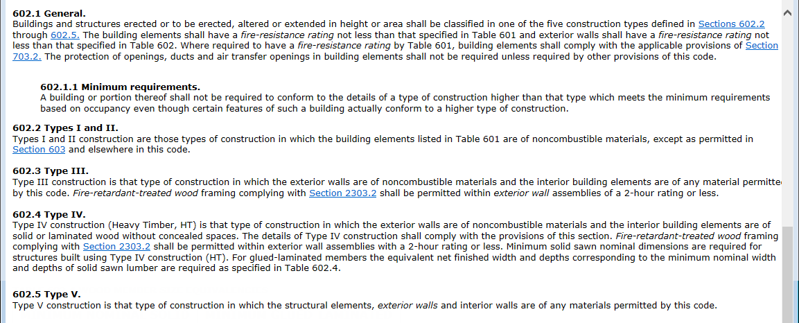International Building Code 2012 - Types of Construction Description