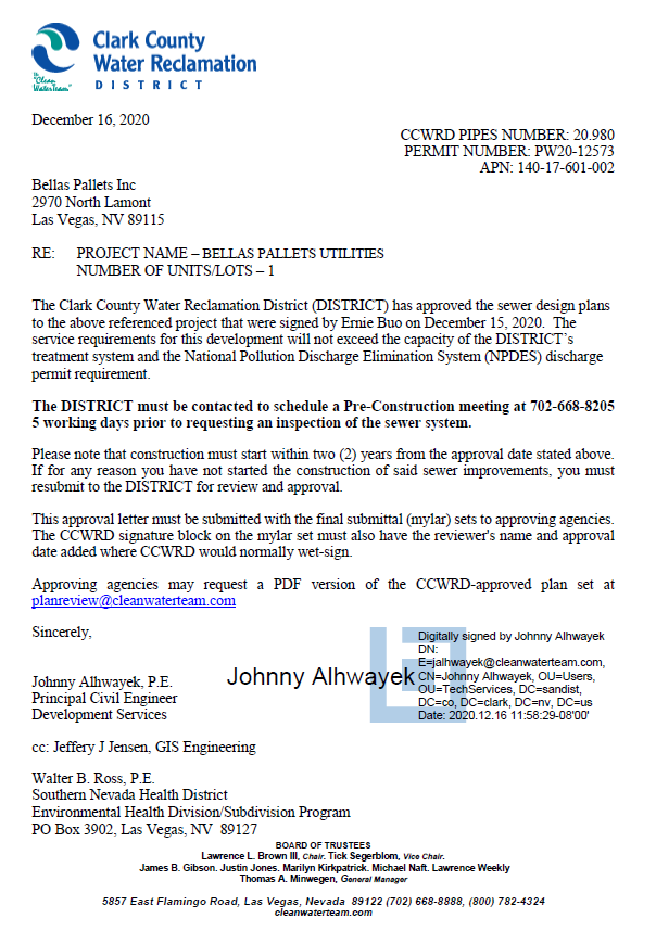 CCWRD Approval Letter