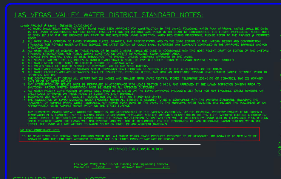 LVVWD Notes Sheet with Approved for Construction