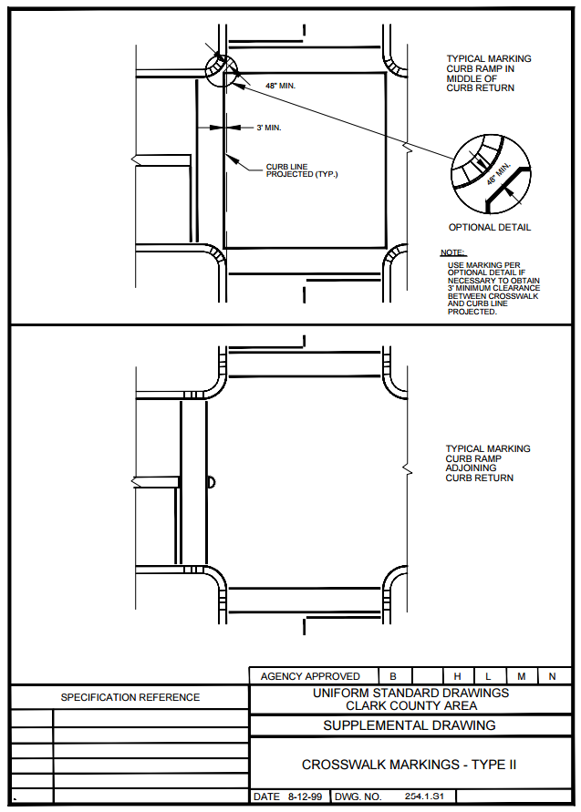 Figure 1-0 Uniform Standard Drawings - Clark County Area - Crosswalk Markings - Type II