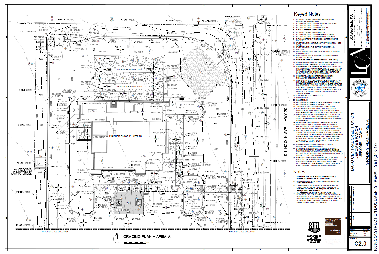 Figure 1-0 Idaho Central Credit Union - Jerome Branch - Grading Plan - Area A