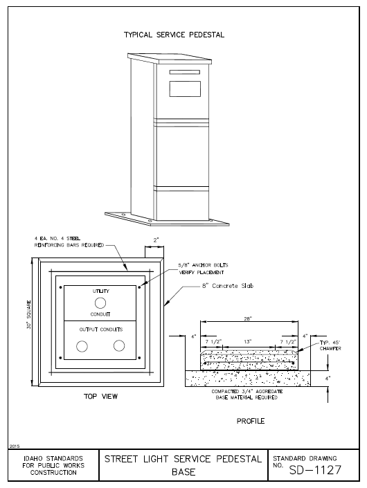 Figure 1-0 Street Light Service Pedestal Base ISPWC SD-1127