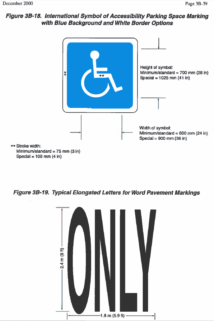 Figure 1-0 MUTCD Wheelchair Pavement Markings