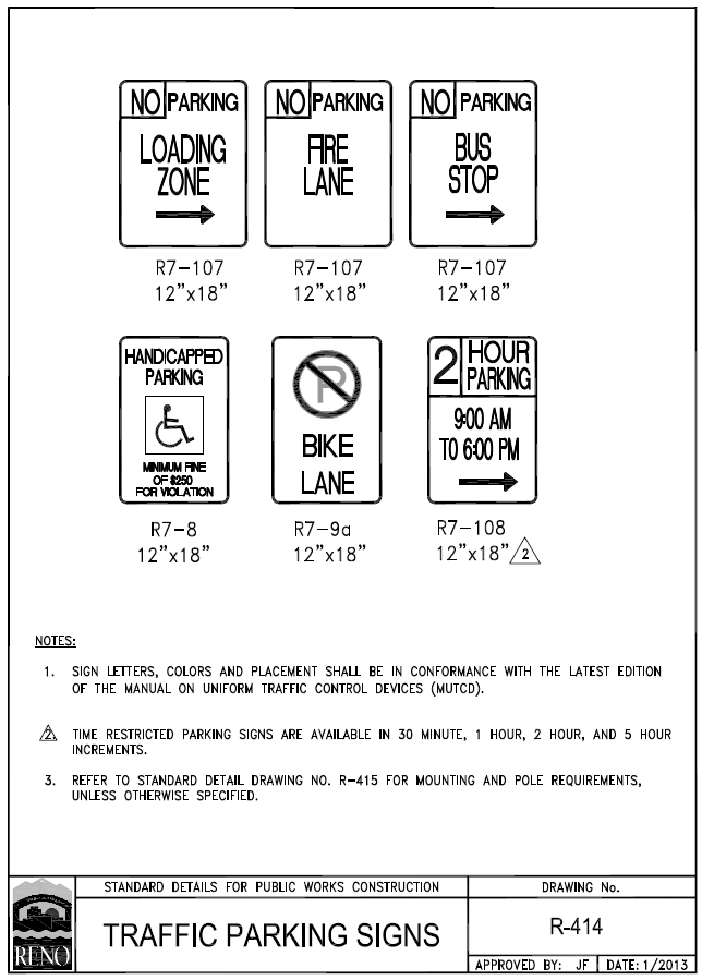 Figure 1-0 Reno Traffic Parking Signs