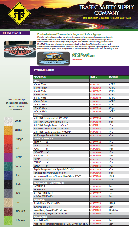 Figure 1-0 TSSCO Thermoplastic Price Sheet