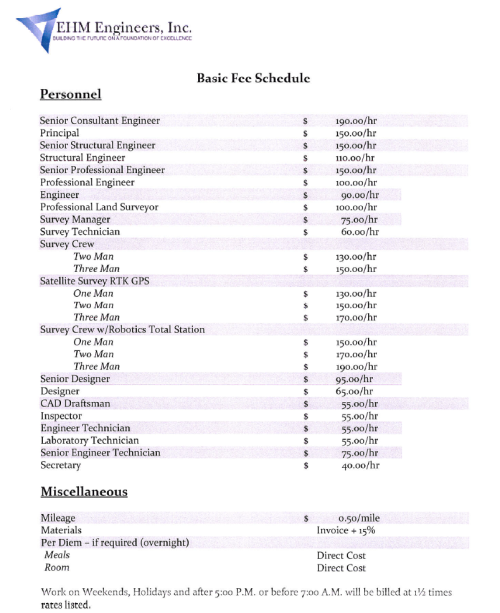 Basic Fee Schedule - EHM Engineers, Inc