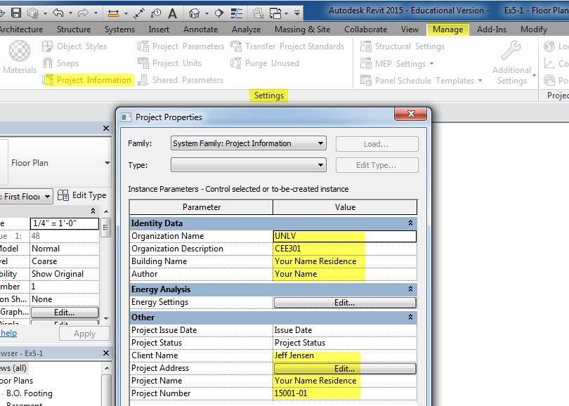 Figure 5-1.5 Project Information dialog, p. 5-5 in Residential Design Using Autodesk Revit 2014 by Daniel John Stine