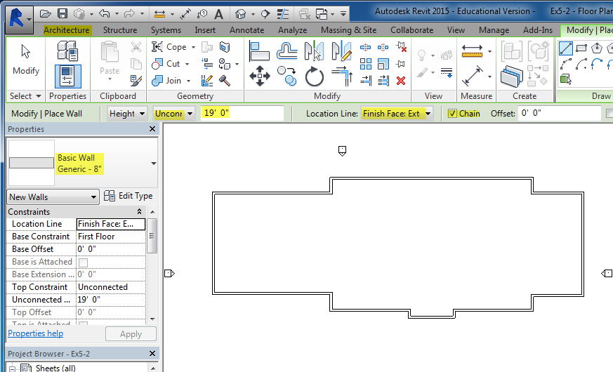 Figure 5-2.1 Ribbon and Option bar - Wall command active, p. 5-8 in Residential Design Using Autodesk Revit 2014 by Daniel John Stine