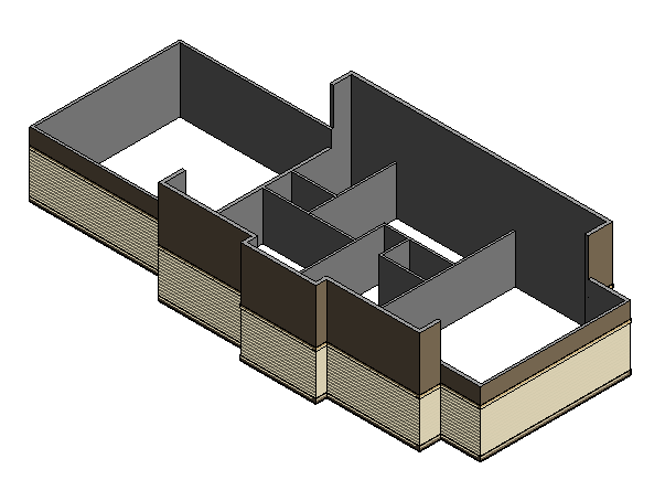 Figure 5-3.10 Completed Interior Walls, p. 5-34 in Residential Design Using Autodesk Revit 2014 by Daniel John Stine