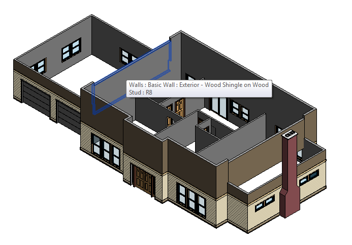 Figure 6-1.6 Second Floor Exterior Walls from Residential Design Using Autodesk Revit 2014 by Daniel John Stine, p. 6-5