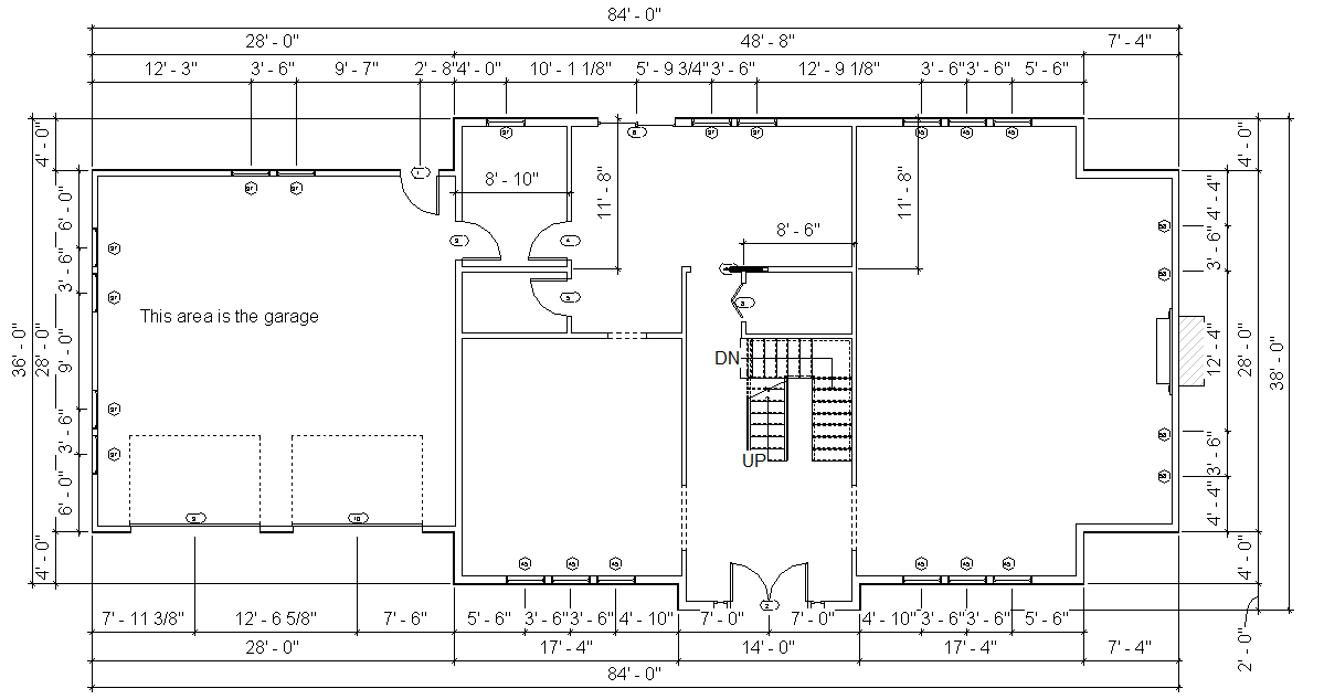 Figure 6-6.7 First Floor Exterior Wall Dimensions from Residential Design Using Autodesk Revit 2014 by Daniel John Stine, p. 6-39
