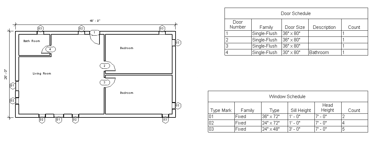 Figure 2-5.5 Floor Plan and Door & Window Schedule in Residential Design Using Autodesk Revit 2014 by Daniel John Stine