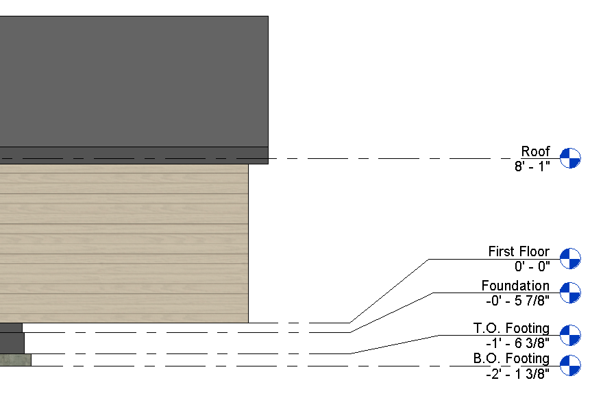 Figure 5-0 Elevations - First Floor, Foundation, Top Of Footing, and Bottom Of Footing Architectural Drafting Using AutoCAD 2004 by Madsen and Palma, p. 656