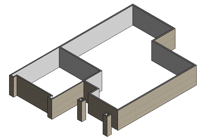 Figure 1-0 Isometric View of Exterior Walls from Architectural Drafting Using AutoCAD 2004 by Madsen