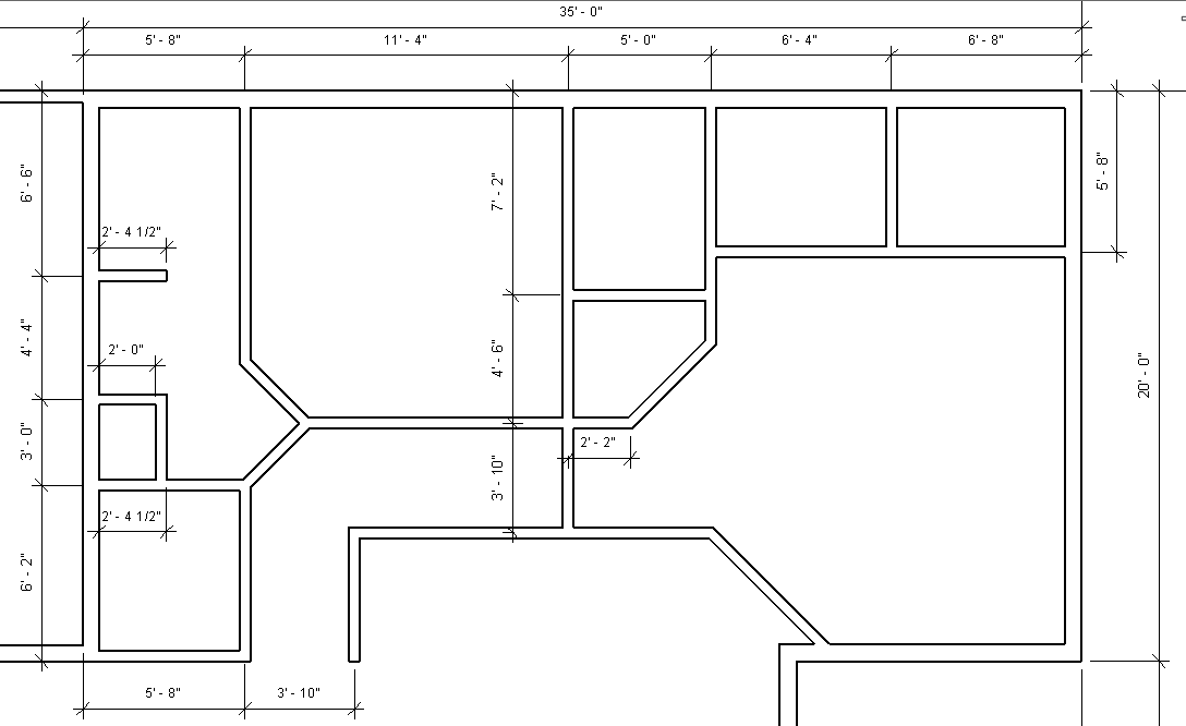 Figure 2-0 Interior Wall Dimensions for North side