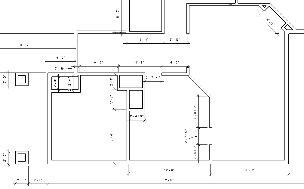 Figure 2-0 Interior Wall Dimensions for South side