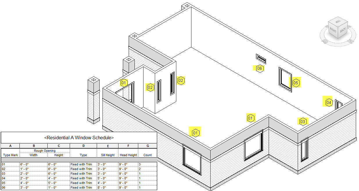 Figure 1-0 Residential Exterior Walls and Windows in Revit
