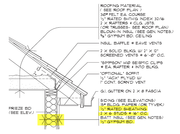 Figure 1-0 Typical Wall Section Detail from Architectural Drafting Using AutoCAD 2004 by Madsen]]     * Options Bar > Height constrained to Roof, Location Line: Finish Face: Exterior   * Drawing the wall using the following dimensions     * {{engineer-civil:revit:resa-01exteriorwallsnorth.png|Figure 1-0 Dimensions of Exterior Walls