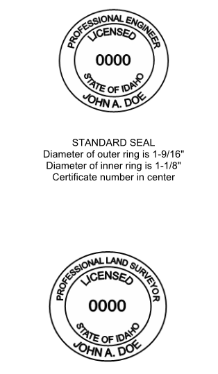 Idaho Board Word Document of PE Stamp Drawing